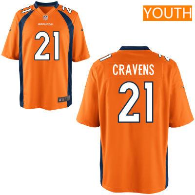 Youth Denver Broncos #21 Su'a Cravens Orange Team Color Stitched NFL Nike Game Jersey