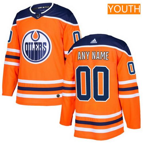 Youth Edmonton Oilers Orange Alternate Custom adidas NHL Hockey Jersey