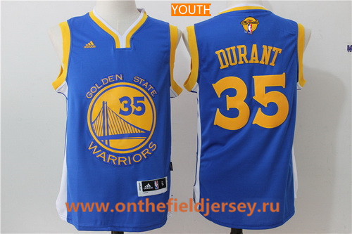 Youth Golden State Warriors #35 Kevin Durant Royal Blue Adidas Road 2017 The NBA Finals Patch Jersey