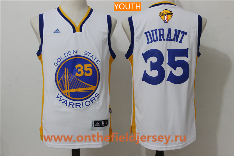 Youth Golden State Warriors #35 Kevin Durant White 2017 The NBA Finals Patch Adidas Home Jersey