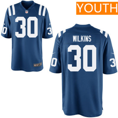 Youth Indianapolis Colts #30 Jordan Wilkins Royal Blue Team Color Stitched NFL Nike Game Jersey