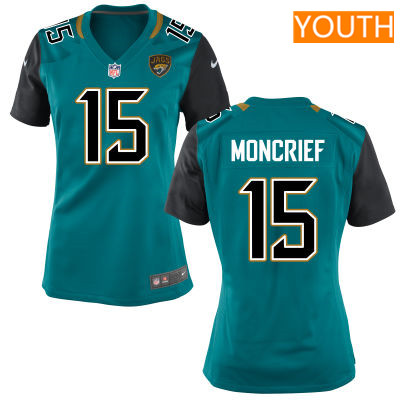 Youth Jacksonville Jaguars #15 Donte Moncrief Teal Green Team Color Stitched NFL Nike Game Jersey