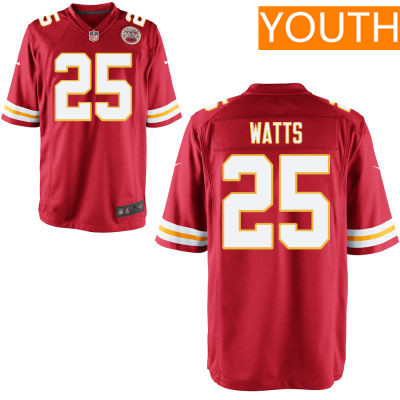 Youth Kansas City Chiefs #25 Armani Watts Red Team Color Stitched NFL Nike Game Jersey