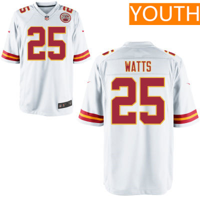 Youth Kansas City Chiefs #25 Armani Watts White Road Stitched NFL Nike Game Jersey