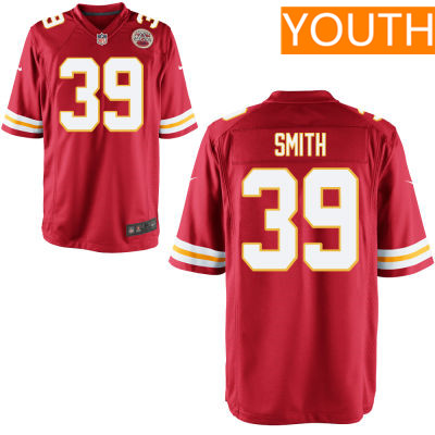 Youth Kansas City Chiefs #39 Tremon Smith Red Team Color Stitched NFL Nike Game Jersey
