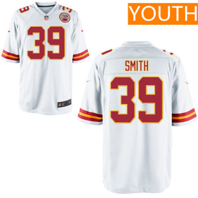 Youth Kansas City Chiefs #39 Tremon Smith White Road Stitched NFL Nike Game Jersey