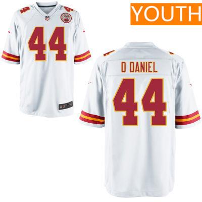 Youth Kansas City Chiefs #44 Dorian O'Daniel White Road Stitched NFL Nike Game Jersey
