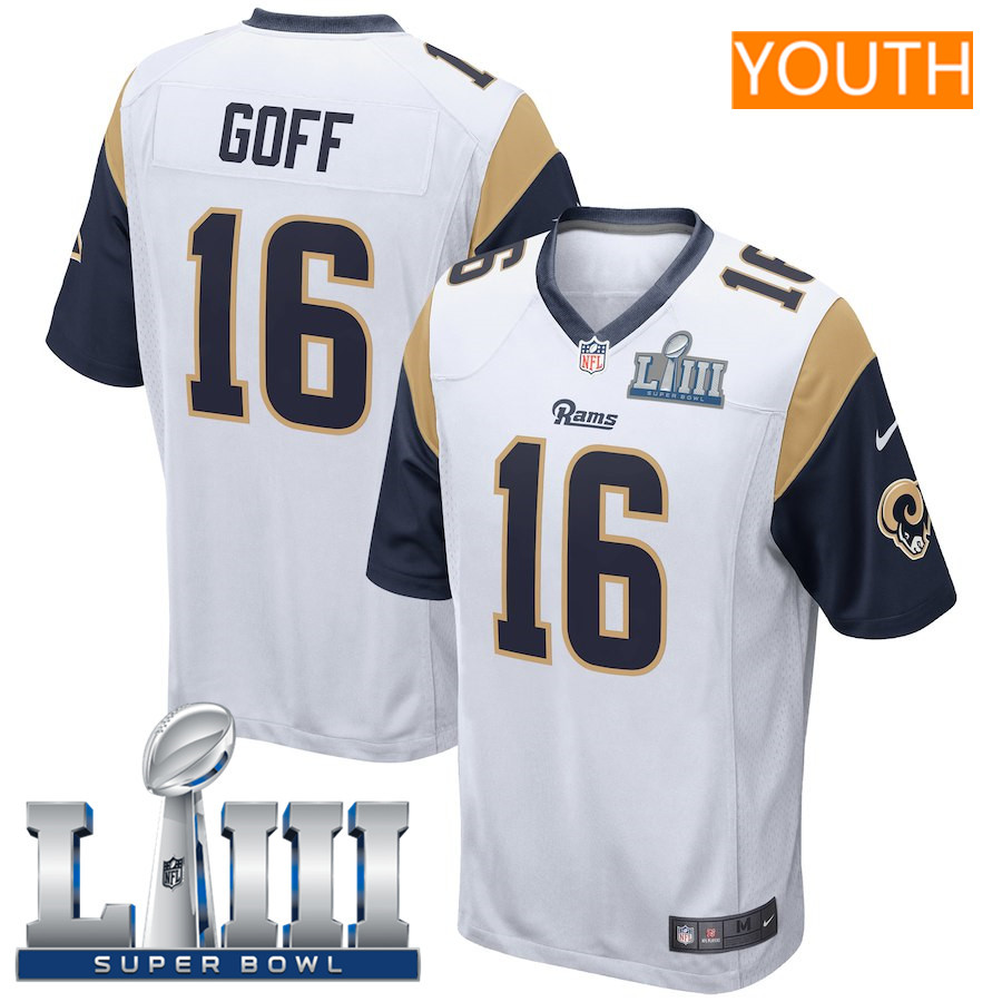 Youth Los Angeles Rams #16 Jared Goff Nike White Super Bowl LIII Bound Game Jersey