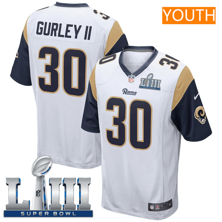 Youth Los Angeles Rams #30 Todd Gurley II Nike White Super Bowl LIII Bound Game Jersey