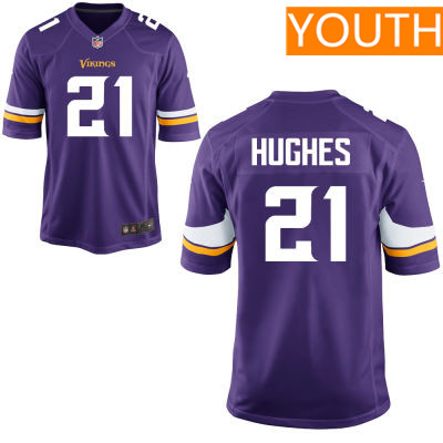 Youth Minnesota Vikings #21 Mike Hughes Purple Color Stitched NFL Nike Game Jersey