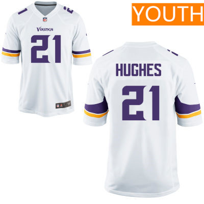 Youth Minnesota Vikings #21 Mike Hughes White Road Stitched NFL Nike Game Jersey
