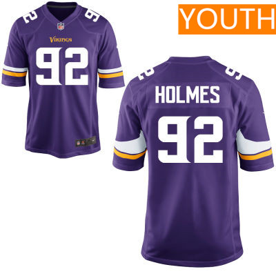 Youth Minnesota Vikings #92 Jalyn Holmes Purple Color Stitched NFL Nike Game Jersey