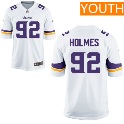 Youth Minnesota Vikings #92 Jalyn Holmes White Road Stitched NFL Nike Game Jersey
