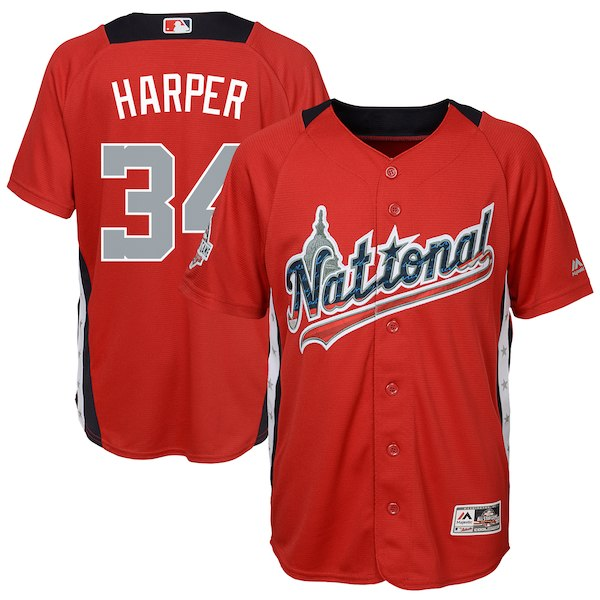 Youth National League Bryce Harper Majestic Red 2018 MLB All-Star Game Home Run Derby Player Jersey