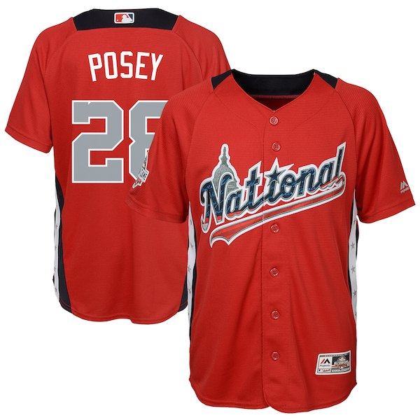Youth National League Buster Posey Majestic Red 2018 MLB All-Star Game Home Run Derby Player Jersey
