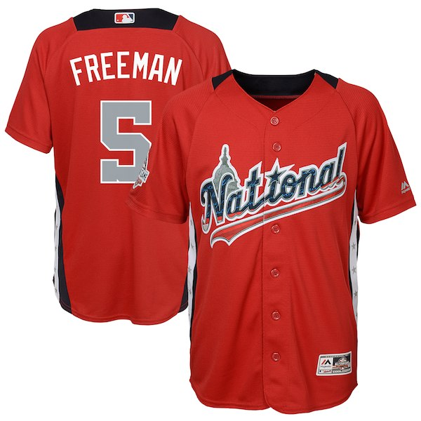 Youth National League Freddie Freeman Majestic Red 2018 MLB All-Star Game Home Run Derby Player Jersey