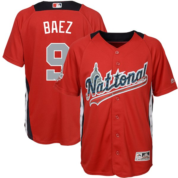 Youth National League Javier Baez Majestic Red 2018 MLB All-Star Game Home Run Derby Player Jersey