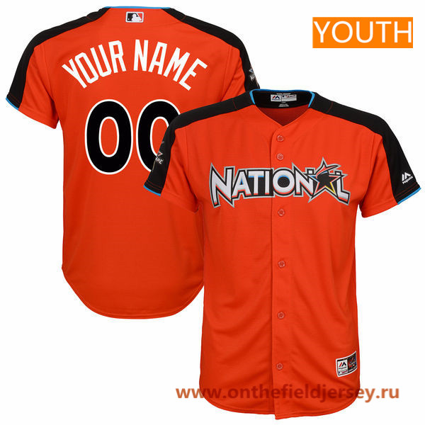 Youth National League Majestic Orange Custom 2017 MLB All-Star Game Baseball Jersey