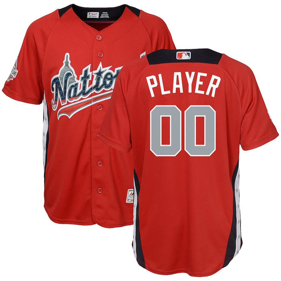 Youth National League Majestic Scarlet 2018 MLB All-Star Game Home Run Derby Custom Jersey