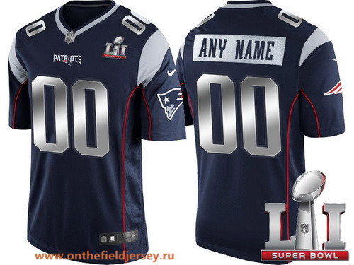 Youth New England Patriots Navy Blue Steel Silver 2017 Super Bowl LI NFL Nike Custom Limited Jersey