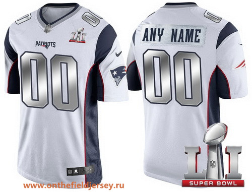 Youth New England Patriots White Steel Silver 2017 Super Bowl LI NFL Nike Custom Limited Jersey
