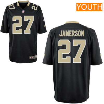 Youth New Orleans Saints #27 Natrell Jamerson Black Team Color Stitched NFL Nike Game Jersey
