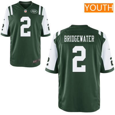 Youth New York Jets #2 Teddy Bridgewater Green Team Color Stitched NFL Nike Game Jersey