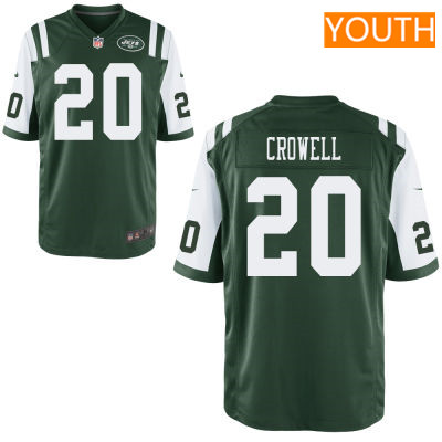 Youth New York Jets #20 Isaiah Crowell Green Team Color Stitched NFL Nike Game Jersey