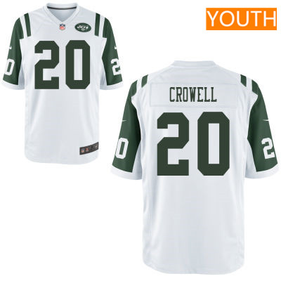 Youth New York Jets #20 Isaiah Crowell White Road Stitched NFL Nike Game Jersey
