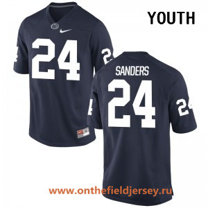 Youth Penn State Nittany Lions #24 Miles Sanders Navy Blue College Football Stitched Nike NCAA Jersey