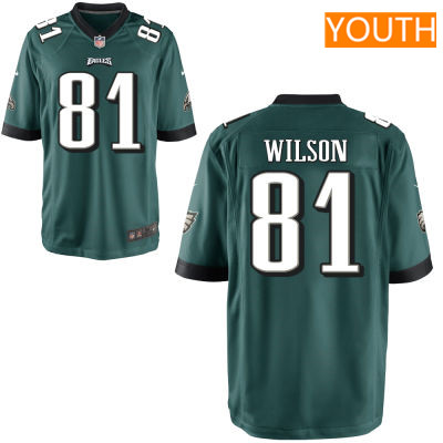 Youth Philadelphia Eagles #81 Marquess Wilson Midnight Green Team Color Stitched NFL Nike Game Jersey