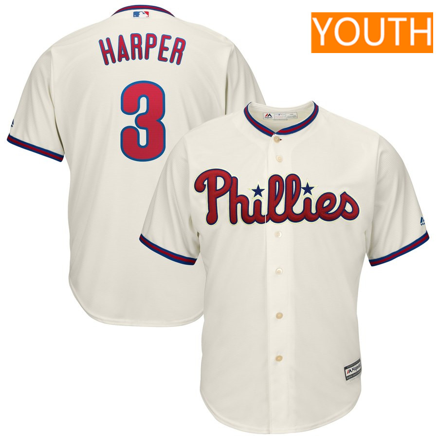 Youth Philadelphia Phillies #3 Bryce Harper Majestic Cream Alternate Official Cool Base Player Jersey