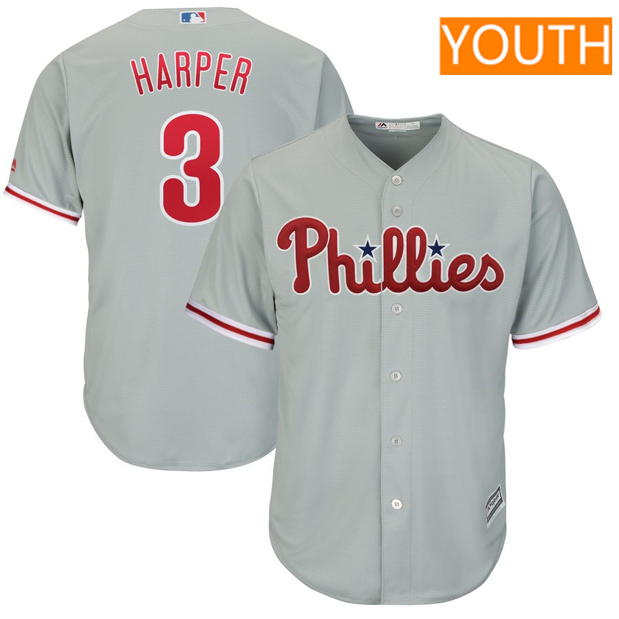 Youth Philadelphia Phillies #3 Bryce Harper Majestic Gray Official Cool Base Replica Player Jersey