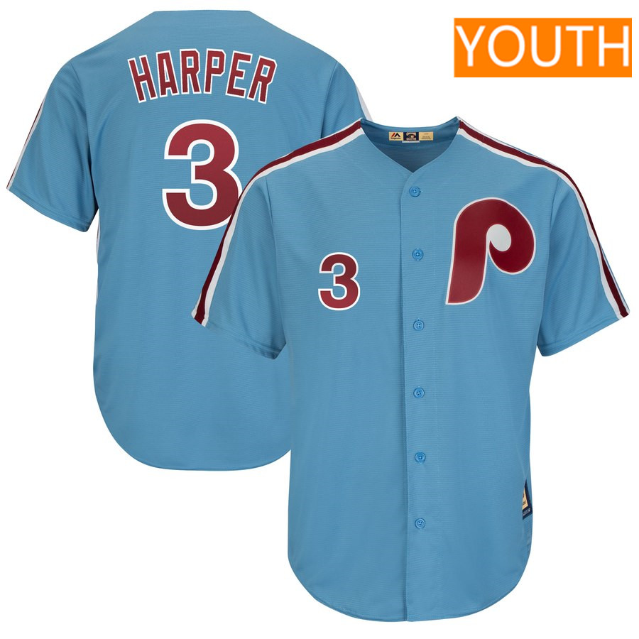 Youth Philadelphia Phillies #3 Bryce Harper Majestic Light Blue Cool Base Cooperstown Player Jersey