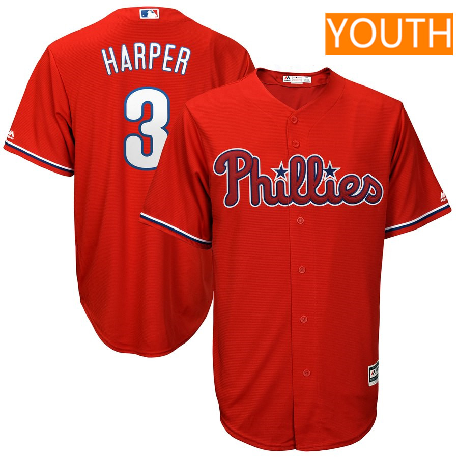 Youth Philadelphia Phillies #3 Bryce Harper Majestic Scarlet Official Cool Base Player Jersey