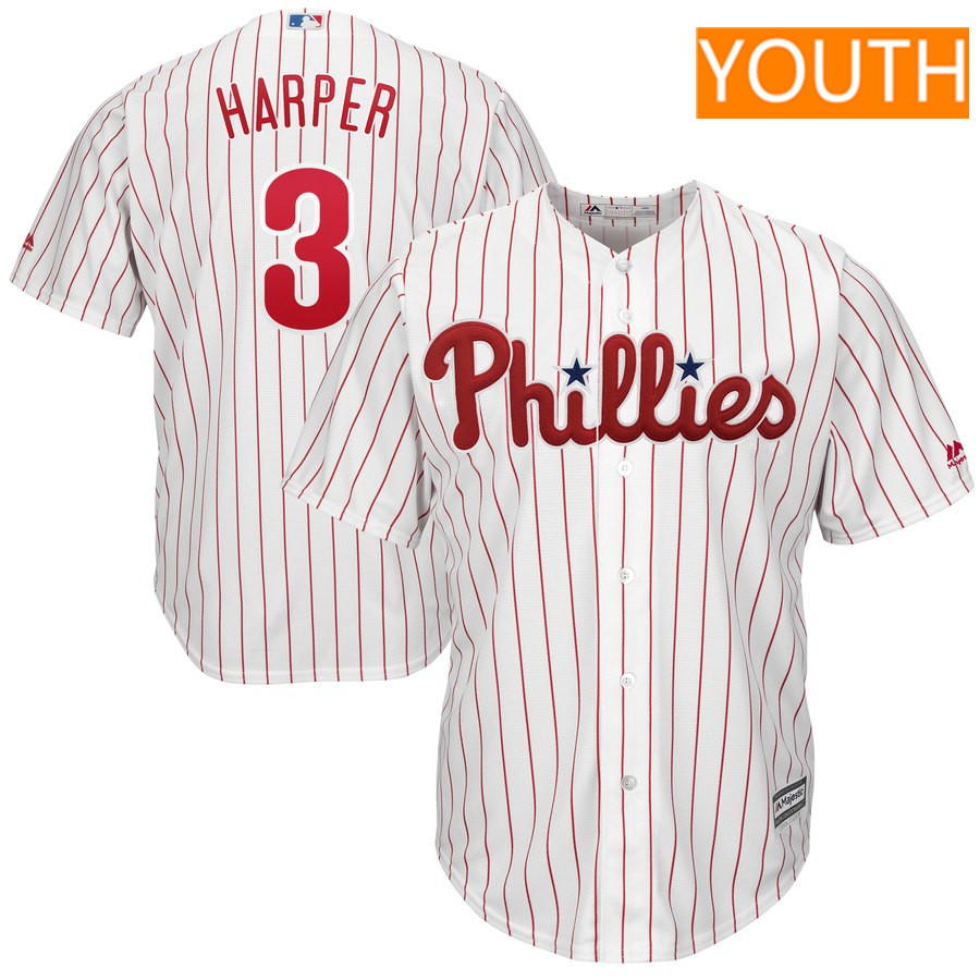 Youth Philadelphia Phillies #3 Bryce Harper Majestic White Home Official Cool Base Player Jersey