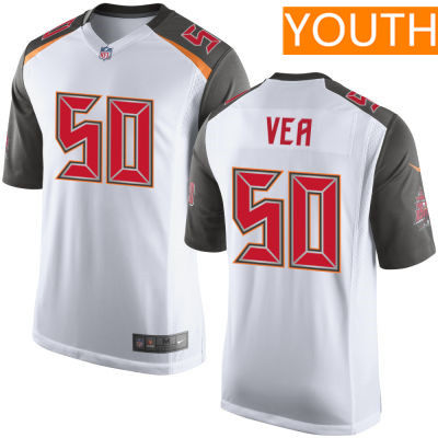 Youth Tampa Bay Buccaneers #50 Vita Vea White Road Stitched NFL Nike Game Jersey