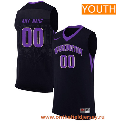 Youth Washington Huskies Custom Nike College Basketball Jersey - Black