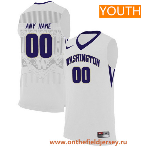 Youth Washington Huskies Custom Nike College Basketball Jersey - White