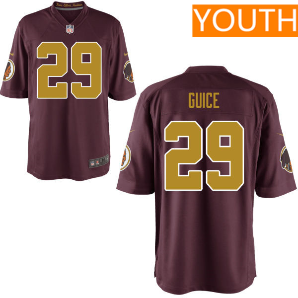 Youth Washington Redskins #29 Derrius Guice Red With Gold Alternate Stitched NFL Nike Game Jersey