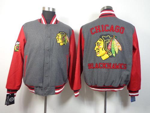 Men's Chicago Blackhawks Blank Gray Jacket