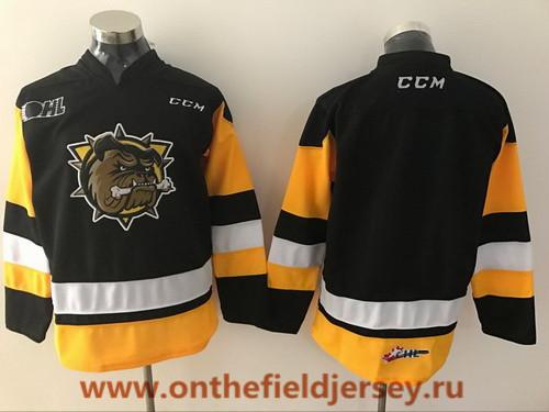 Men's Hamilton Bulldogs Blank Black Stitched OHL CCM Ice Hockey Jersey