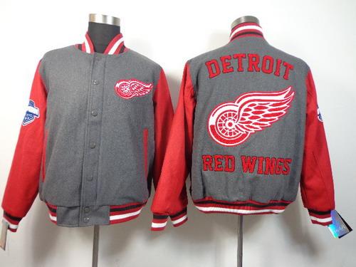 Men's Detroit Red Wings Blank Gray Jacket