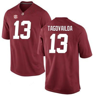 Men's Alabama Crimson Tide #13 Tua Tagovailoa Red Diamond Quest Stitched College Football Nike Jersey
