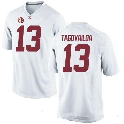Men's Alabama Crimson Tide #13 Tua Tagovailoa White Diamond Quest Stitched College Football Nike Jersey